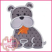 Bobbin the Bulldog with Fall Leaf Applique 4x4 5x7 6x10 7x11 SVG
