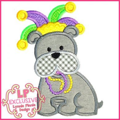Mardi Gras Bobbin the Bulldog Applique 4x4 5x7 6x10 7x11 SVG