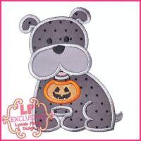 Bobbin the Bulldog with Halloween Pumpkin Applique 4x4 5x7 6x10 7x11 SVG