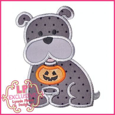 Bobbin the Bulldog with Halloween Pumpkin Applique 4x4 5x7 6x10 7x11 SVG
