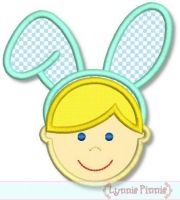 Bunny Ears Boy Applique 4x4 5x7 6x10