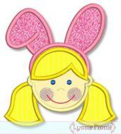 Bunny Ears Girl Applique 4x4 5x7 6x10