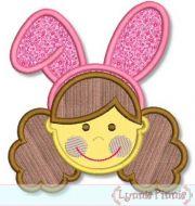 Bunny Ears Girl with Curly Hair 4x4 5x7 6x10