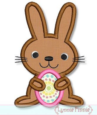 Little Bunny with Easter Egg Applique 4x4 5x7 6x10