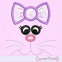 Bunny Face Girl Applique 4x4 5x7 6x10