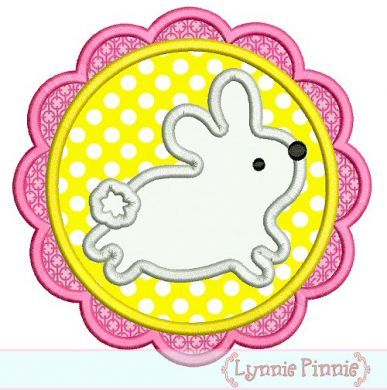 Scalloped Easter Bunny Patch Applique 4x4 5x7 6x10