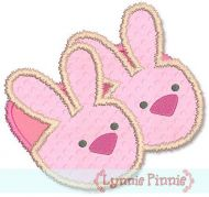 Fuzzy Bunny Slippers Applique 4x4 5x7 6x10