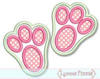 Easter Bunny Footprints Applique 4x4 5x7 6x10