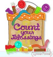 Count Your Blessings Candy Bag Applique 4x4 5x7 6x10 7x11