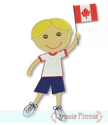 Canadian Flag Boy -Filled 4x4 5x7