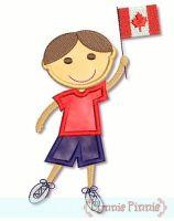 Applique Canadian Flag Boy 4x4 5x7