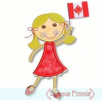 Applique Canadian Flag Girl 4x4 5x7