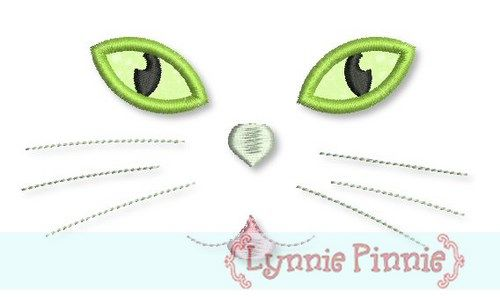 Cat Face With Applique Eyes 4x4 5x7 6x10 Welcome To Lynnie Pinnie