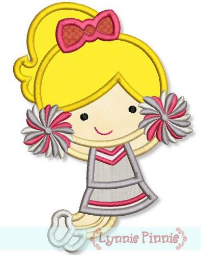 Little Cheerleader Applique 2 4x4 5x7 6x10