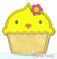 Easter Chick Cupcake Applique 4x4 5x7 6x10