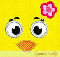 Girly Little Chick Face Applique 4x4 5x7 6x10