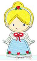Christmas Princess Applique 2 4x4 5x7 6x10 SVG