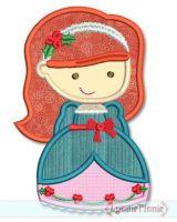 Christmas Princess Applique 5 4x4 5x7 6x10 SVG