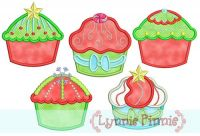 Christmas Cupcakes Applique Set 4x4 5x7