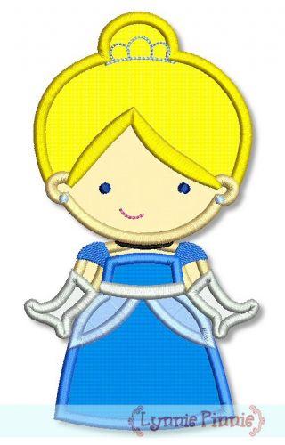 Cutie Princess as Cinderella Applique 4x4 5x7 6x10