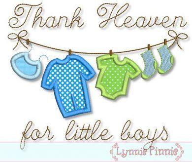 Thank Heaven for Little Boys Clothesline Applique 4x4 5x7 6x10