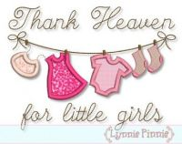 Thank Heaven for Little Girls Clothesline Applique 4x4 5x7 6x10