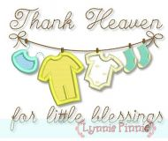 Thank Heaven for Little Blessings Clothesline Applique 4x4 5x7 6x10