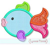 Colorful Fish Applique 4x4 5x7 6x10