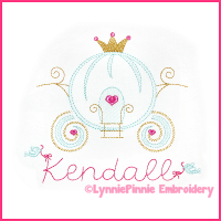 Pretty Princess Carriage Colorwork Sketch Embroidery Design 4x4 5x7 6x10