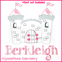 Pretty Princess Castle Colorwork Sketch Embroidery Design 4x4 5x7 6x10