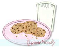 Milk & Cookie Plate Applique 4x4 5x7 7x5