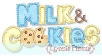 Milk & Cookies Wording Fill + Applique 4x4 5x7