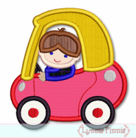 Boy in Little Coupe Car Applique 4x4 5x7 6x10 7x11 SVG