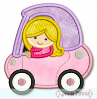 Girl in Little Coupe Car Applique 4x4 5x7 6x10 7x11 SVG