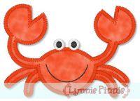 Zig Zag Crab Applique 4x4 5x7