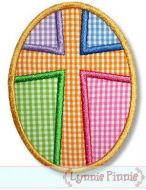 Patchwork Cross Easter Egg Applique 4x4 5x7