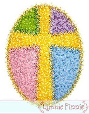 Patchwork Cross Easter Egg Applique - Deco Stitch - 4x4 5x7