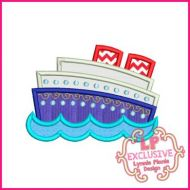 Cruise Ship Applique 4x4 5x7 6x10 SVG