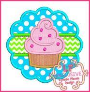 Cupcake Scallop Applique 4x4 5x7 6x10 7x11 SVG