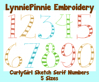 CurlyGirl Serif Sketch Triple Run Embroidery Numbers Set -- 5 sizes