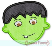 Cute Frankenstein Face Applique 4x4 5x7 6x10