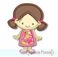 Cute Girl in A-Line Dress Applique 4x4 5x7