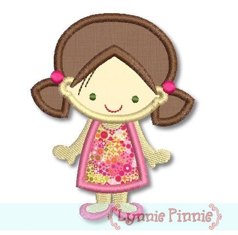 Cute Girl in A-Line Dress Applique 4x4 5x7 - Welcome to