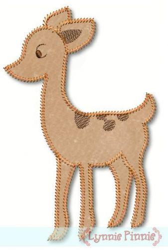 Vintage Style Deer Applique 4x4 5x7