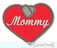 Dogs Tags Heart Applique - Mommy 4x4 5x7 6x10