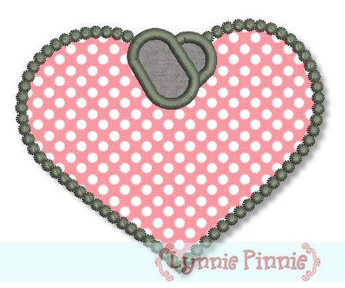 Dogs Tags Heart Applique - Blank 4x4 5x7 6x10