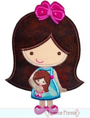 Doll Cutie Applique 4x4 5x7 6x10 SVG