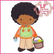 Easter Boy with Curly Hair Applique 4x4 5x7 6x10