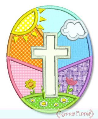 Easter Egg with Cross Applique 4x4 5x7 6x10