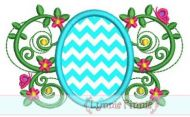 Easter Egg Flourish Applique 4x4 5x7 6x10 SVG